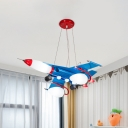Cream Glass Aircraft Ceiling Pendant Cartoon LED Blue Chandelier for Childrens Bedroom