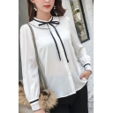 Womens Trendy Bow-Tied Collar Long Sleeve Button Down White Shirt Blouse