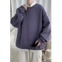 Mens Sweatshirt Chic Plain Ribbed Trim Long Drop-Sleeve Relaxed Fit Crew Neck Pullover Sweatshirt