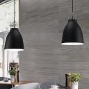 Carillon-Like Aluminum Drop Pendant Macaron Single Black/Grey/Pink Down Lighting for Living Room