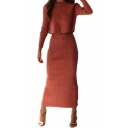 Womens Sweater and Skirt Sets Solid Color Rid Round Neck Long Sleeve Fitted Co-ords with Back Slit