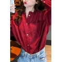 Cute Womens Solid Color Long Sleeve Button Up Stringy Selvedge Crew Neck Chest Pocket Relaxed Shirt Top