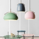 Dome/Cloche Arch-Handled Ceiling Hang Light Macaron Aluminum Single Living Room Drop Pendant in Pink/Blue/Yellow