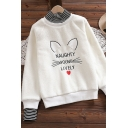 Womens Sweatshirt Stylish Letter Embroidered Stripe Patchwork False Two Pieces Thickened Loose Fit Long Sleeve High Neck Pullover Sweatshirt