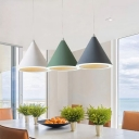 Conical Aluminum Ceiling Suspension Lamp Macaron Grey/White/Pink Finish LED Hanging Pendant for Dining Room