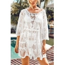 Girls Trendy Beachwear Coat Hollowed Lace Sheer 3/4 Sleeve Trapezoid-Neck Loose Fit Cardigan in White