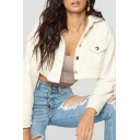 Basic Womens Cardigan Flap Chest Pockets Wool Thickened Button Fly Long Sleeve Slim Fitted Turn-down Collar Cropped Cardigan