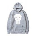 Stylish Cartoon Sinister Skull Print Long Sleeve Pouch Pocket Relaxed Fit Sports Hoodie