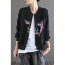 Basic Womens Jacket Abstract Face Pattern Button up Stand Collar Loose Fit Long Drop-Sleeve Casual Jacket