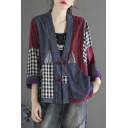 Womens Jacket Ethnic Color Block Patchwork Checkered Pattern Frog Button Detail Long Sleeve Deep V Neck Loose Fit Casual Jacket