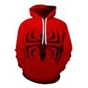 Cool Red Spider Printed Long Sleeve Sport Loose Unisex Pullover Hoodie