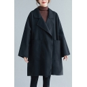 Young-Looking Wool Coat Solid Color Open Front Big Pockets Notched Collar Long-sleeved Relaxed Fit Coat for Women