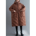 Elegant Down Coat Rhombus Quilted Solid Color Pockets Hooded Zip Fly Long-sleeved Regular Fitted Coat for Women
