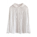 Classic Womens Shirt Ditsy Floral Pattern Frill Trim Pleated Placket Button down Long Sleeve Doll Collar Loose Fit Shirt