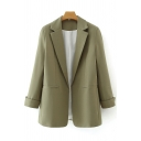 Basic Womens Jacket Solid Color Rolled Cuffs Open-Front Lapel Collar Slim Fit Long Sleeve Suit Jacket