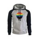 Novelty Mens Hoodie Contrast Cat Rainbow Striped Print Drawstring Kangaroo Pocket Slim Fitted Long Raglan Sleeve Hoodie