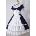 Girls Popular Lace Stitching Short Sleeve Gathered Waist Color Block Midi Cosplay Lolita Dress