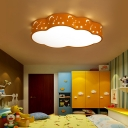 Cloud LED Ceiling Lighting Cartoon Acrylic Red/Yellow/Blue Flush Mount Light with Cutouts Moon and Star Design, 20.5