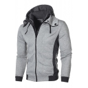 Vintage Mens Jacket Color Block Panel Double-Layer Zipper Design Long Sleeve Slim Fitted Hooded Casual Jacket