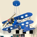 Metal Biplane Pendant Chandelier Kids Integrated LED Hanging Light Fixture in Yellow/Blue/Dark Blue-Yellow