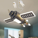 Space Capsule Boys Bedroom Chandelier Resin Creative LED Hanging Pendant Light in Dark Grey