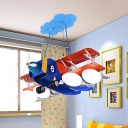 4 Lights Bedroom Ceiling Chandelier Kids Blue and Red Plane Hanging Lamp with Ball Frosted Glass Shade