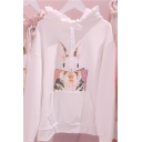 Cartoon Rabbit Pattern Stringy Selvedge Trimmed Hood Pouch Pocket Casual Hoodie