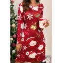 Womens Short Dress Chic Christmas Print Silk-Look Regular Fitted Boat Neck Long Sleeve Sheath Dress