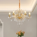 Scrolled Arm Metal Ceiling Chandelier Contemporary 6-Bulb Brass Hanging Lamp Kit with Crystal Droplet for Dining Room