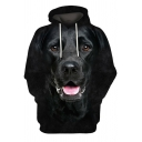 Mens Hoodie Unique 3D Dog Print Drawstring Regular Fit Long Sleeve Hooded Sweatshirt