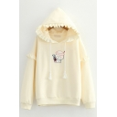 Basic Womens Hoodie Cartoon Rabbit Candy Embroidery Stringy Selvedge Drawstring Loose Fit Long Sleeve Hoodie