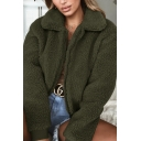 Winter Thick Women's Jacket Fleece Fur Solid Color Peter Pan Collar Zip-Fly Regular Fit Casual Jacket