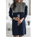 Warm Sweater Dress Color Block Round Neck Long-sleeved Midi Sweater Dress for Women