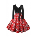 Womens Dress Trendy Santa Claus Gift Stocking Candy Cane Tree Print Tie Waist Midi A-Line Slim Fitted Scalloped V Neck Long Sleeve Swing Dress