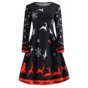 Unique Womens Dress Reindeer Snowflake Snowman Father Christmas Print Midi A-Line Slim Fitted Round Neck Long Sleeve Swing Dress