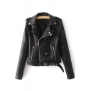 Unique Ruffle Embellished Shoulder Notched Lapel Collar Long Sleeve Belt Zip Up PU Biker Jacket