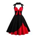 Womens Dress Fashionable Color Block Tie Front Zipper Back Halter Neck Sleeveless A-Line Slim Fitted Midi Swing Dress