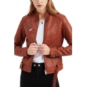Womens Jacket Stylish Letter Embossed Metal-Buckle Belted Stand Collar Zipper Detail Leather Jacket