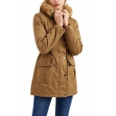 Unique Womens Parkas Flap Pockets Thick Fur-Trimmed Hood Split Hem Drawstring Waist Zipper up Slim Fit Long Sleeve Mid-Length Parkas