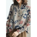 Unique Womens Shirt Flower Leaf Plaid Stripe Print Cotton Linen Button Detail Long Sleeve Turn-down Collar Loose Fitted Shirt