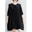Kawaii Girls Shirt Dress Black Cotton Button-down Loose Fit Sailor Collar Full Sleeve Shirt