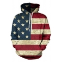New Stylish Star Striped Flag Printed Long Sleeve Casual Loose Unisex Hoodie