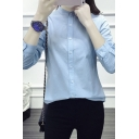 Novelty Womens Shirt Solid Color Cotton Linen Button down Long Sleeve Stand Collar Loose Fit Shirt