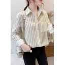Classic Womens Shirt Color Block Stripe Print Curved Hem Button up Point Collar Long Sleeve Loose Fit Shirt