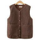 Womens Vest Casual Solid Color Sherpa Double Pockets Front Button up V Neck Sleeveless Regular Fit Vest