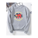 Novelty Womens Pullover Sweatshirt Animal Leaf Letter Not Fast Not Furious Printed Rib Trim Loose Fit Long Sleeve Crew Neck Pullover Sweatshirt