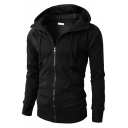 Mens Jacket Unique Solid Color Drawstring Zipper Detail Slim Fitted Long Sleeve Hooded Casual Jacket