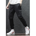 Men's Cool Fashion Zip Embellished Flap Pocket Side Simple Plain Black Trendy Casual Cargo Pants