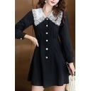 Girls Halloween Popular Peter Pan Collar Long Sleeve Contrast Cuff Button Up Black Mini A-Line Dress