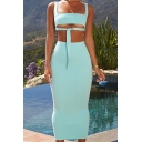 Basic Womens Co-ords Plain Tie-Front Cutout Strap Slim Fitted Maxi Bodycon Skirt Sleeveless Cropped Camisole Co-ords